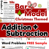 Free Sample: Christmas Addition & Subtraction Bar Model Word Problems Grades 1&2