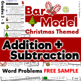 Free Sample: Christmas Addition & Subtraction Bar Model Word Problems Grades 2&3