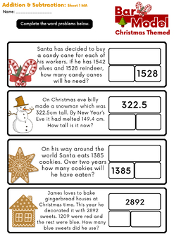 Free Sample: Christmas Addition & Subtraction Bar Model Word Problems Grades 3&4