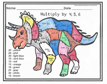 Free Sample Color by Multiplication - x 4,5,6 - No Prep