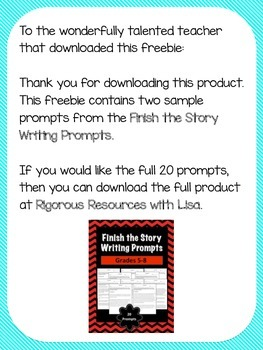FREE - Sample Finish the Story Prompts