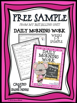 Free Sample From Daily Morning Work Weeks 1-5 ~ Language Arts and Math