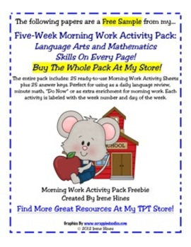 Free Sample From My 5 Week Morning Work Activity Pack ~ Language Arts and Math