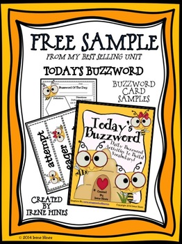 Free Sample From Today's Buzzword! Vocabulary Cards and Printable