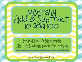Free Sample Mentally Add and Subtract 10 and 100