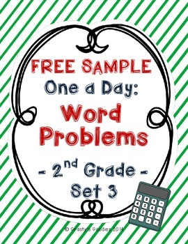 {Free Sample} One A Day: Word Problems for 2nd Grade (Set 3 - Common Core)