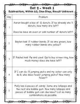 (Free Sample) One a Day: Word Problems for 2nd Grade (Set 2 - Common Core)