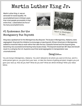 Free! Sample Page from: Martin Luther King Jr. Critical Thinking Packet!