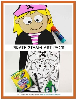 Free Sample - Pirate Art and Math Activity with Bonus Writing Prompts Craft