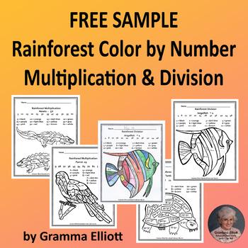 Free Sample Rainforest Color by Number Multiplication & Division No Prep
