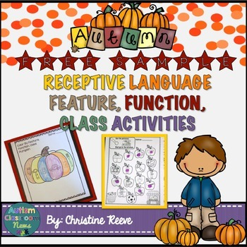 Free Sample: Receptive Vocabulary Activities for Fall: Feature Function Class