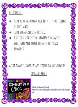 Free Sample!! Self Regulation Coloring Sheet/ Zones Companion
