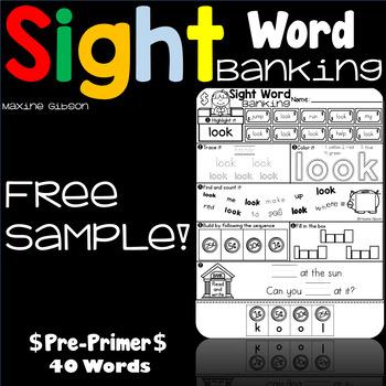 Free Sample Sight Word Banking Pre-Primer