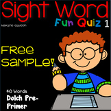 Free Sample Sight Word Fun Quiz Pre-Primer