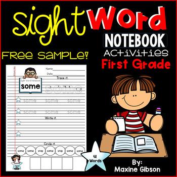 Free Sample Sight Word Notebook Activities First Grade