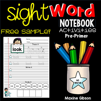 Free Sample Sight Word Notebook Activities Pre-Primer