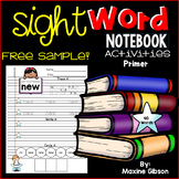 Free Sample Sight Word Notebook Activities Primer