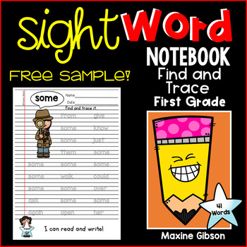 Free Sample Sight Word Notebook Find and Trace First Grade