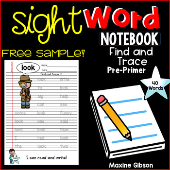 Free Sample Sight Word Notebook Find and Trace Pre-Primer