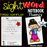 Free Sample Sight Word Notebook Fluency Pre-Primer