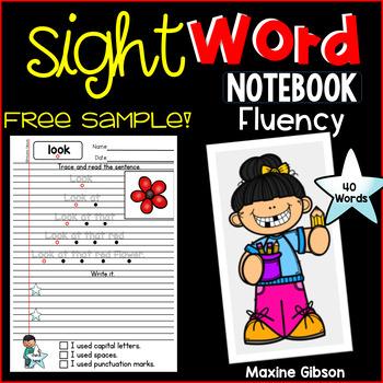 Free Sample Sight Word Notebook Fluency Pre-Primer