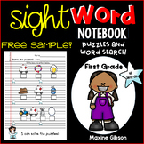 Free Sample Sight Word Notebook Puzzles and Word Search First Grade