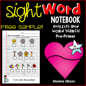 Free Sample Sight Word Notebook Puzzles and Word Search Pre-Primer