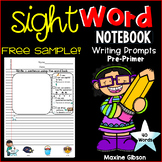 Free Sample Sight Word Notebook Writing Prompts Pre-Primer