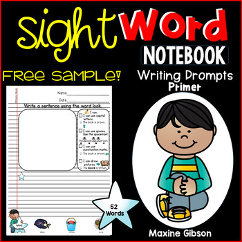 Free Sample Sight Word Notebook Writing Prompts Primer