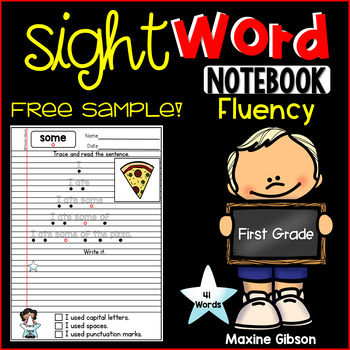 Free Sample Sight Word Notebook Fluency First Grade