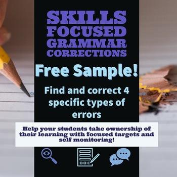 Free Sample- Skills Focused Grammar Corrections Lesson w/ Self-Monitoring 7-12