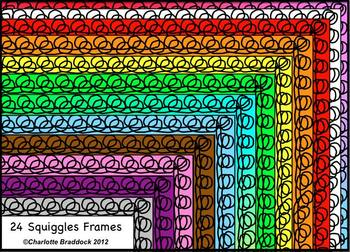 Color Borders and Frames with Circular Squiggles from Charlotte's Clips