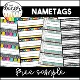 Free Sample: Student Nametags