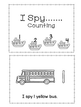 Traveling By Free Sample... Counting Book and Skills Worksheets