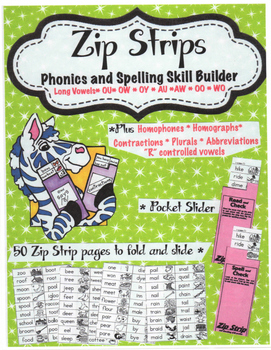 Free Sample Zip Strip Phonics and Spelling Skill Builders Long Vowels