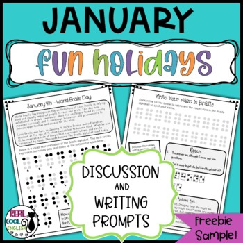 Free Sample from January Fun Holidays Discussion and Writing Prompts