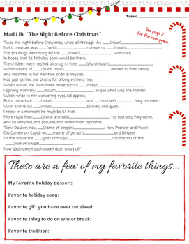 """Free! Sample """"Unique Christmas Printable Packet for 4th, 5th and 6th grade"""""""