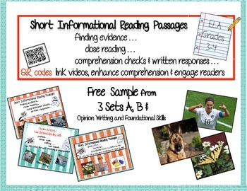 Free Sample of 3 Sets: Informational Reading Passages Set A & B