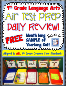 Free Sample of 4th Grade AIR TEST PREP daily review bundle