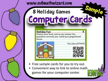 Free Sample of Computer Recipe Cards for Online Holiday Math Games