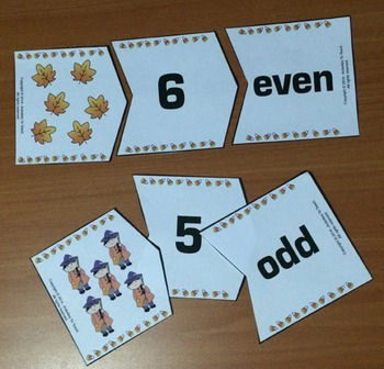 Free Sample of Fall Halloween Harvest Odd Even Math for Young Learners