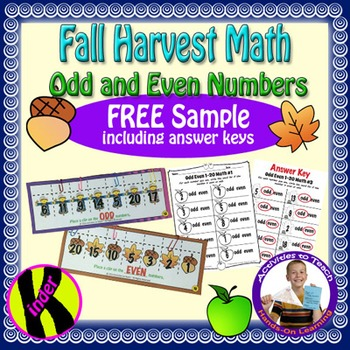 Free Sample of Fall Halloween Harvest Odd Even Math for Yo