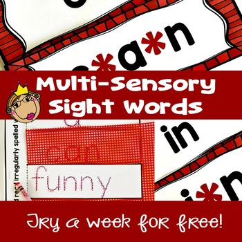 Free Sample of Multi-Sensory Sight Words and High Frequency Words