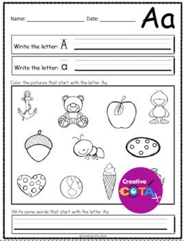 Free Sample of No Prep Alphabet ABC Sound Worksheets
