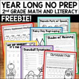 Free Sample of Year Long Literacy and Math No Prep Bundle