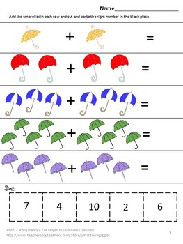 Free Sampler: April Unit Math and Literacy Cut and Paste