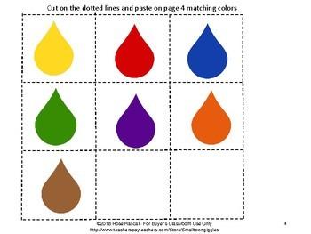 Free Sampler: Color Match Cut and Paste Mini Accordion Book Preschool Special Ed