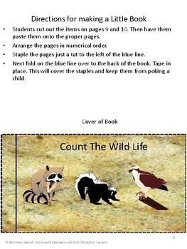 Free Sampler, Count the Wild Life Little book, Pre-K, K, Special Education