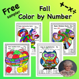 Free Sampler Fall Printable Color by Number Add Subtract M