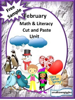 Free Sampler February Math & Literacy Cut & Paste Unit Early Childhood Pr-K, K